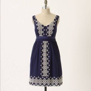 Anthropologie Embroidered Camilla Dress Sz XS